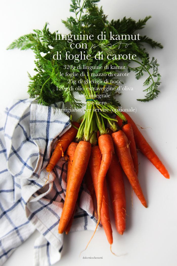 Linguine di kamut con pesto di foglie di carote