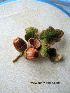 Stumpwork Acorn...look closely at detail......pure inspiration