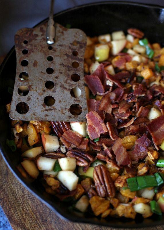 Apple, Pecan & Bacon Butternut Squash Hash  (use green apple for 21Day Sugar Detox) #TheUrbanPoser