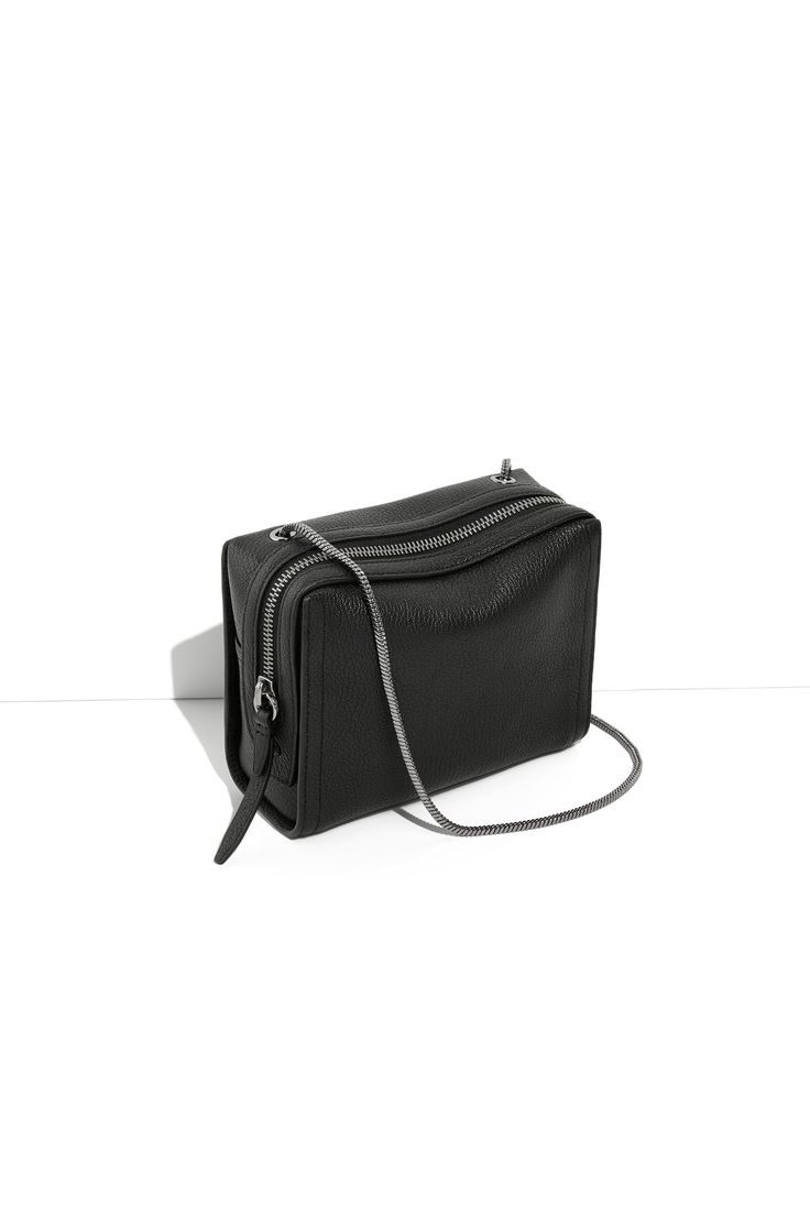 Phillip Lim, black, leather, crossbody, bag, chain strap