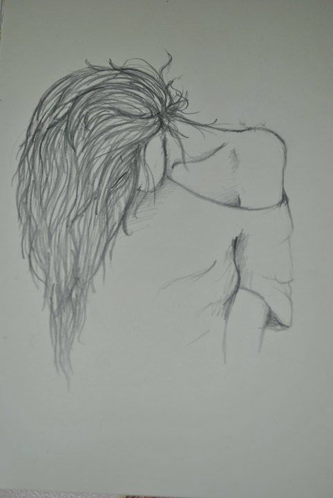 art, drawing, pencil, paper, girl, hair,  By Tiarne White