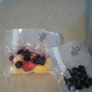 Individual frozen fruit n veggie packs for healthy lunches.  Just use a foodsaver to make assorted varieties and sizes.  Keeps lunches cold n thaws just in time for lunch.  Save money by getting bulk frozen fruits and veggies and separate.  Cut tiny slit in side of pack to make it easier to open, just don't cut too far and break the seal.  My girls love this!