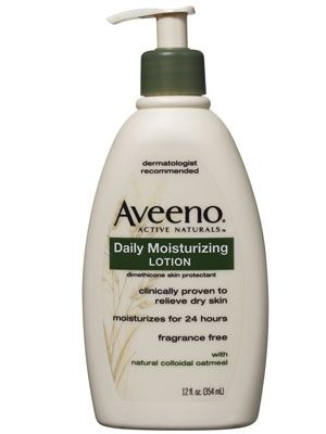 Aveeno Daily Moisturizing Lotion- get the one w the SPF 30. And don't forget to put it on the back of your hands to prevent age spots when driving!