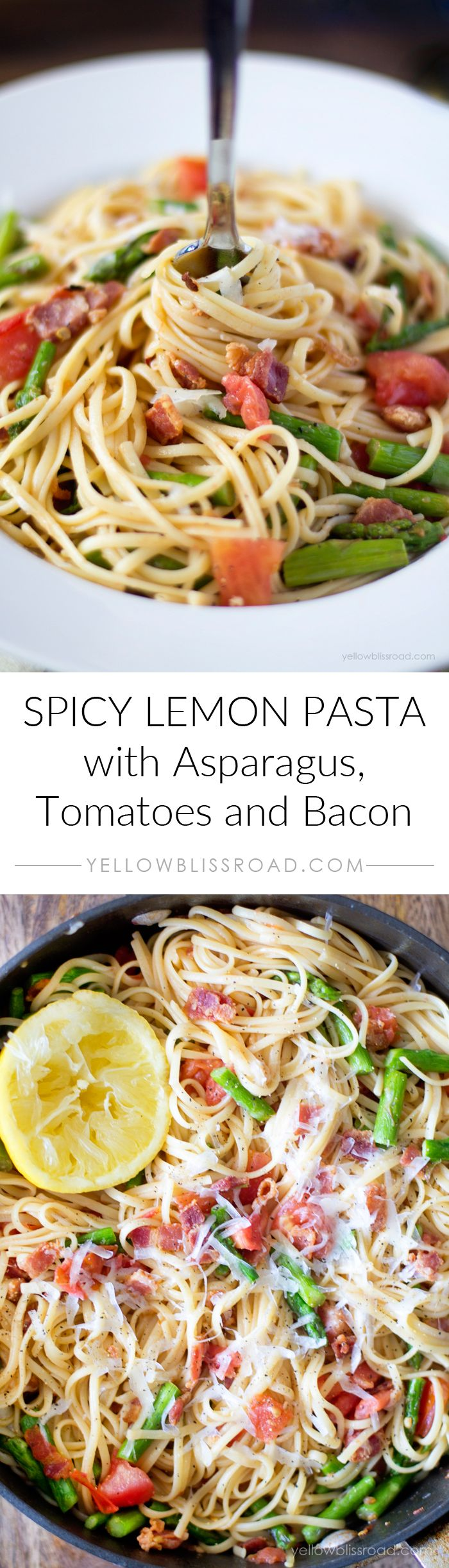 Spicy Lemon Pasta with Bacon, Asparagus and Tomatoes - An easy to whip up pasta dish that is light and full of flavor. #letscook