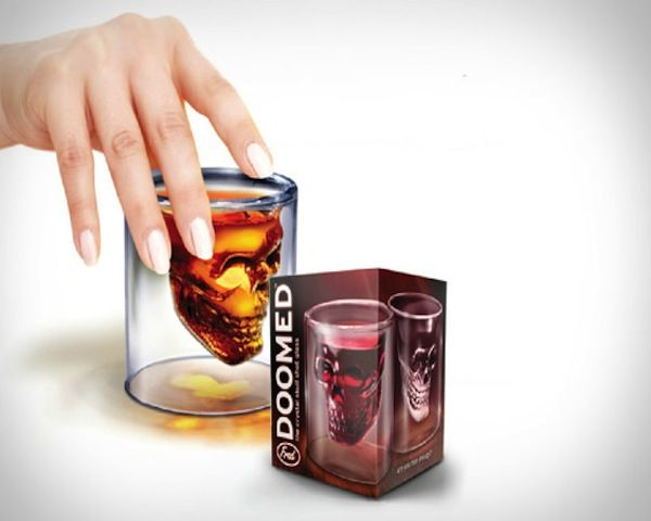 "Doomed is a ""Crystal Skull"" shot glass that holds 2.5 ounces of your favorite beverage, when filled the liquid inside the skulls seems to ""float"" inside of the rim of the glass."