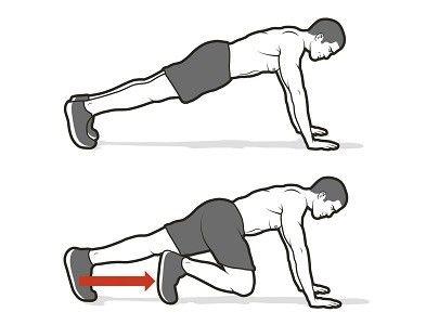 4. Wspinaczka pozioma  Przyjmij pozycję do pompki, ręce rozstawiając na szerokość barków. Dynamicznym ruchem przyciągnij prawe kolano w stronę klatki piersiowej. Wróć do startu i wykonaj to samo drugą nogą. To jedno powtórzenie. Całość wykonuj jak najszybciej, nie dopuszczając do opadania bioder.
