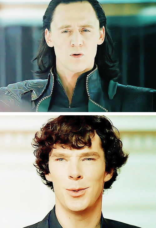 Tom Hiddleston and Benedict Cumberbatch ... obviously learned a lot from each other :) (Original post: http://mylittlecornerofsherlock.tumblr.com/post/28700879769/lunymouse-against-stars-boys-please-3)