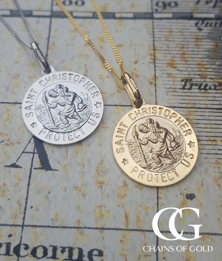 Solid gold and quality design. Engrave our message. Delivered via Royal Mail. St Christopher necklace available in white and yellow gold. Assured retailer.