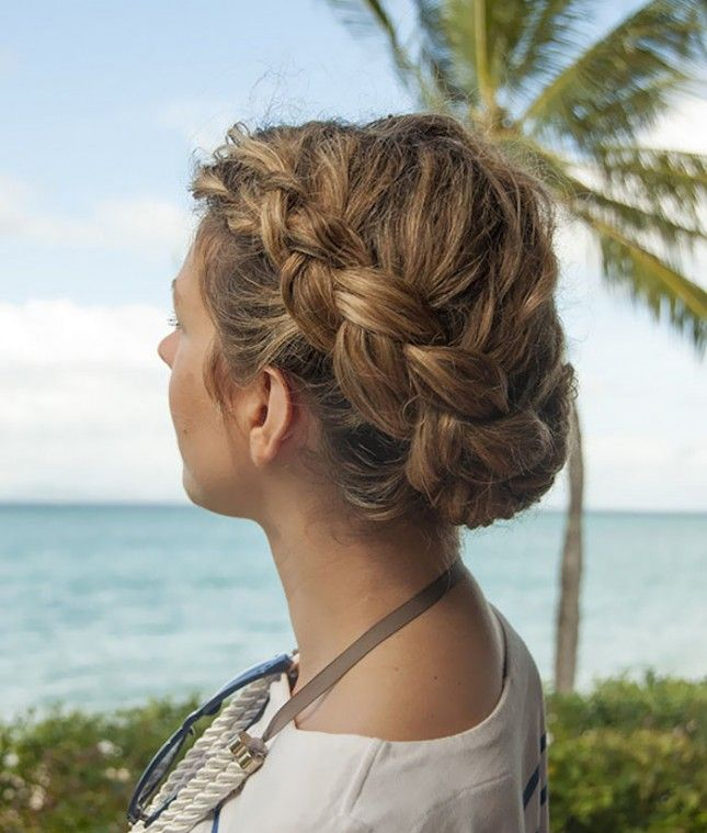 Rock this curly braided updo at work.