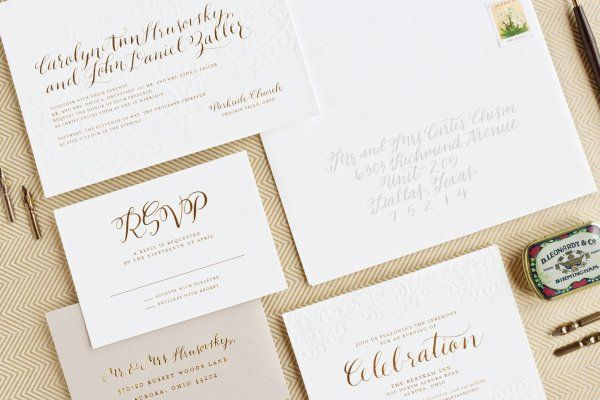 Carley + John's Gold Foil and Calligraphy Wedding Invitations | Design: Lauren Chism Fine Papers | Calligraphy : Courtnie Johnson of Poppy Pedals | Letterpress Printing : Czar Press | Photo Credits: Perez Photography || ohsobeautifulpaper.com