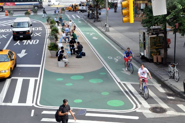 Protected bike lanes on New York City streets.