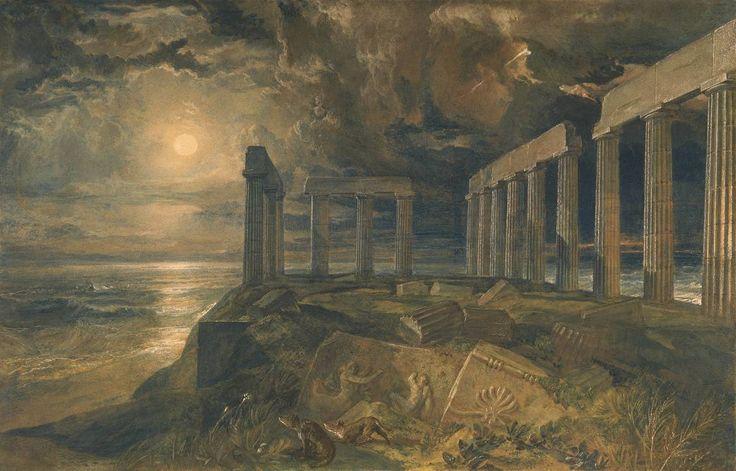 José Mallord William Turner, 'del templo de Poseidón en Sunium (Cabo Colonna)' alrededor del año 1834