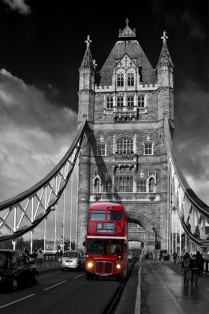 Red London Bus on Tower Bridge