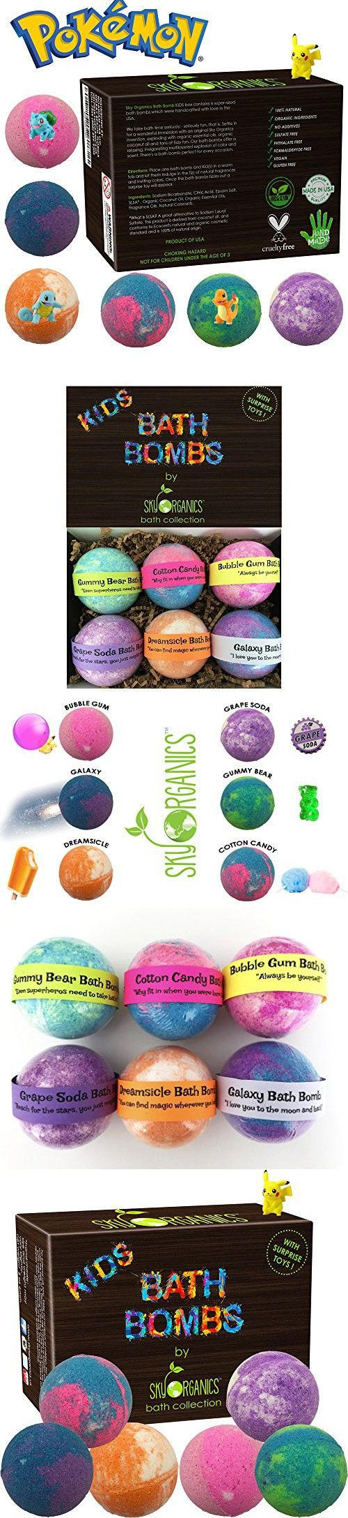 Kids Bath Bombs Gift Set with Surprise Toys, 6x5oz Fun Assorted Colored XL Bath Bombs, Kid Safe, Gender Neutral with Organic Essential Oils -Handmade in the USA Organic Bubble Bath Fizzy