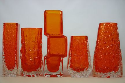 Group of vintage tangerine Whitefriars Glass vases- nail vase; bark vase; drunken bricklayer; coffin vase; volcano  vase