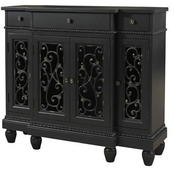 Tuscan Style Decor Black Cabinet Entry Hall Accent Sofa Table Sideboard  Buffet