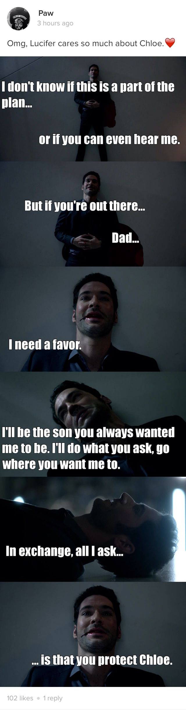 OMG!! That is so Sweet and So Loving!! Lucifer cares SO Deeply and SO Much for Chloe!! ❤️