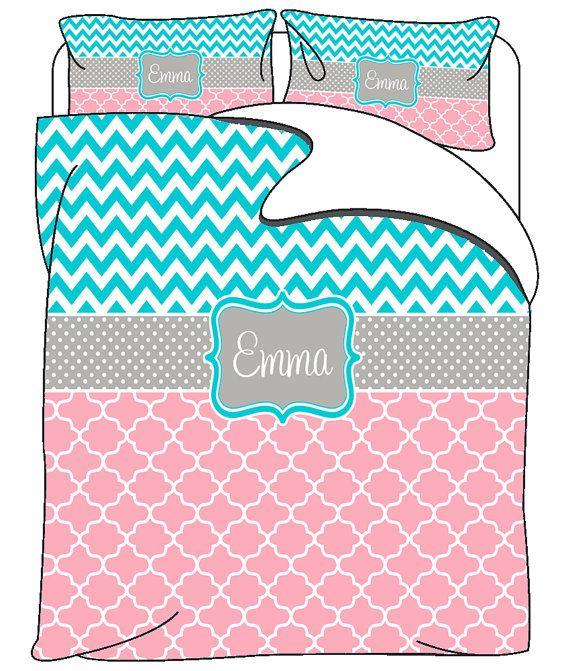 Custom Personalized Chevron-Quatrefoil Bedding  Pink by redbeauty