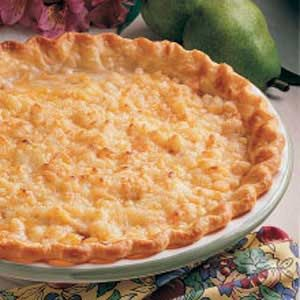 Cheddar Pear Pie Recipe -I take this pie to lots of different gatherings, and I make sure to have copies of the recipe with me since people always ask for it. It's amusing to see some folks puzzling over what's in the filling - they expect apples but love the subtle sweetness of the pears. -Cynthia LaBree, Elmer, New Jersey