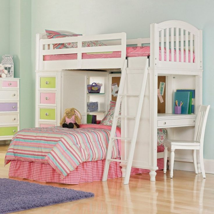 Fetching Bedroom Design And Decoration Using Ikea Bunk Bed With Stairs : Delightful Pink Girl Bedroom Decoration Using Light Pink Girl Bed Valance Including Girl White Wood Ikea Bunk Bed With Stairs And Furry Purple Bedroom Rug