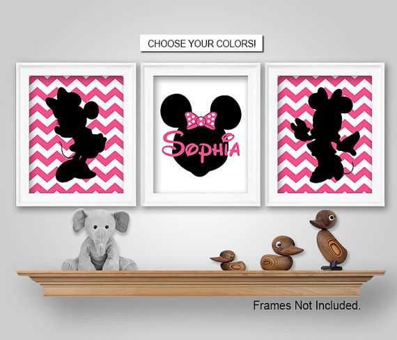 Minnie Mouse Nursery Bedroom Wall Art Prints By KookyburraPrints
