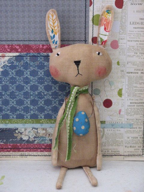 She is just too tooo cute this little Primitive Vintage Bunny Doll