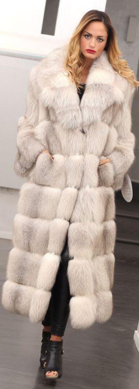 Long blue fox fur coat