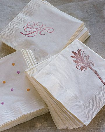Customized Napkins with rubber stamps- I do this all the time and its so easy. Use clear Versamark ink for when you want the stamp to be a few shades darker than the napkin.