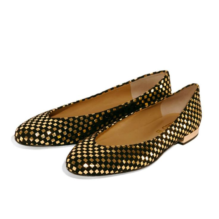CLEO B classic 'Hip Hop' flats in a black and gold patterned suede with gold heel detailing. #pixel #classic #collection #hiphop #style #shoes #black #gold #fashion #designer #london