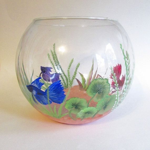 Beta Fish Bowl Hand Painted Fish Tank Decorative Glass Bowl Beautiful Painted Fish And Hands