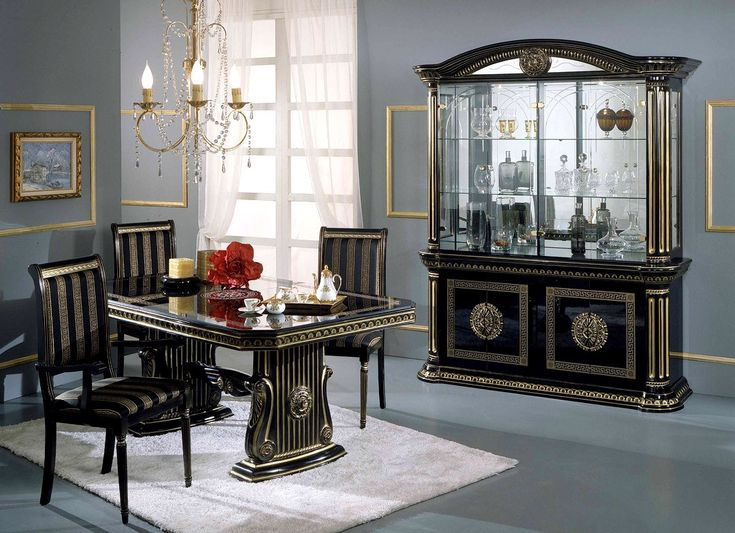 Rosella black and gold italian classic dining set dining for Italian dining room decorating ideas