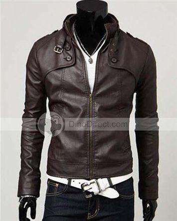 YW® Cheap Black Stand Collar Empire waist Men Leather Jackets