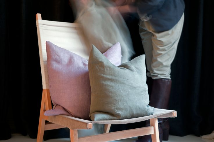 Chair with pillows in Alba from Astrid in Astrid showroom in Stockholm.
