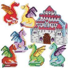 Dragon Coasters & Princess Castle Holder Plastic Canvas Kit - Herrschners