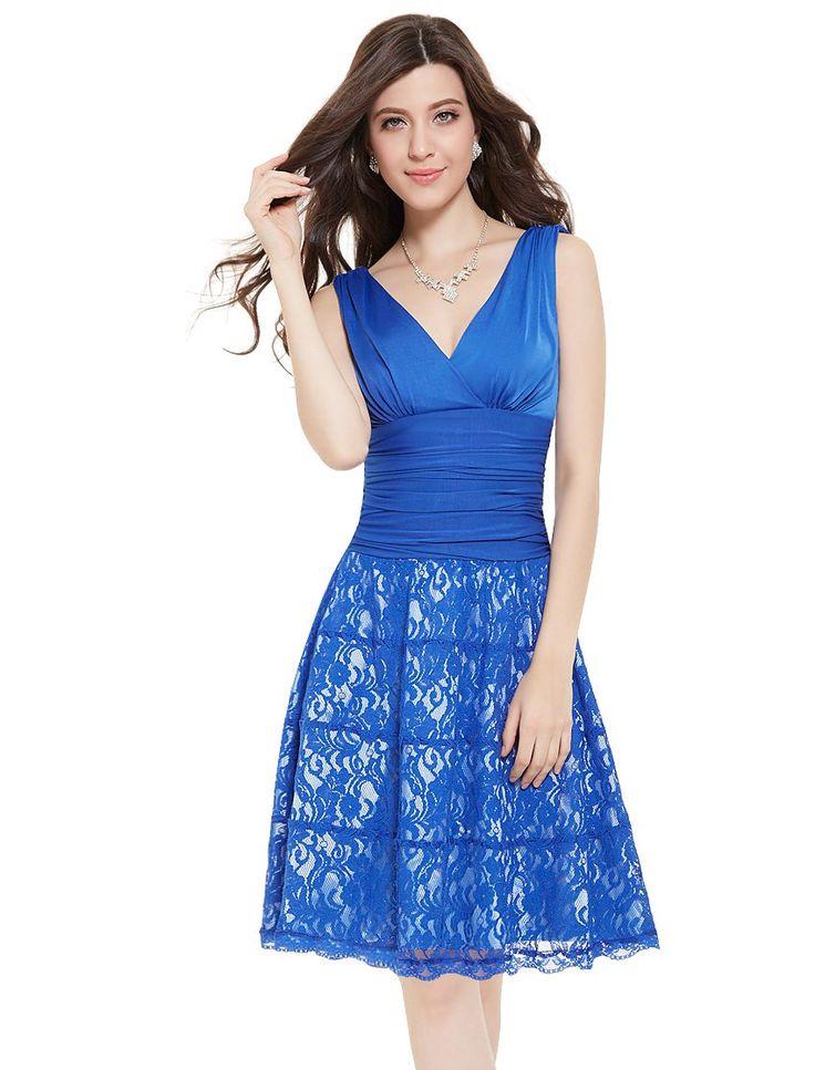 Amazon.com: Ever Pretty Sleeveless Double V-Neck Lacey Bottom Short Party Dress: Clothing