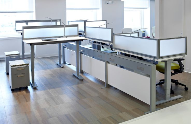 Offer sit-stand worksurfaces that allow employees to alternate between sitting and standing during the workday, promoting overall health and wellness. At KI, we define Active Design by incorporating height-adjustable worksurfaces! #ActiveDesign #WorkUp #Trellis #Toggle