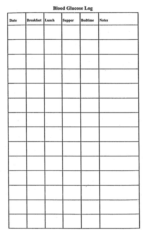 diabetes log book template