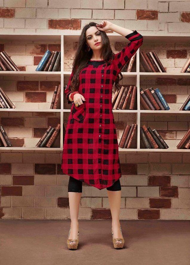 bc06e001254  red  black  checks  print  rayon  kurti