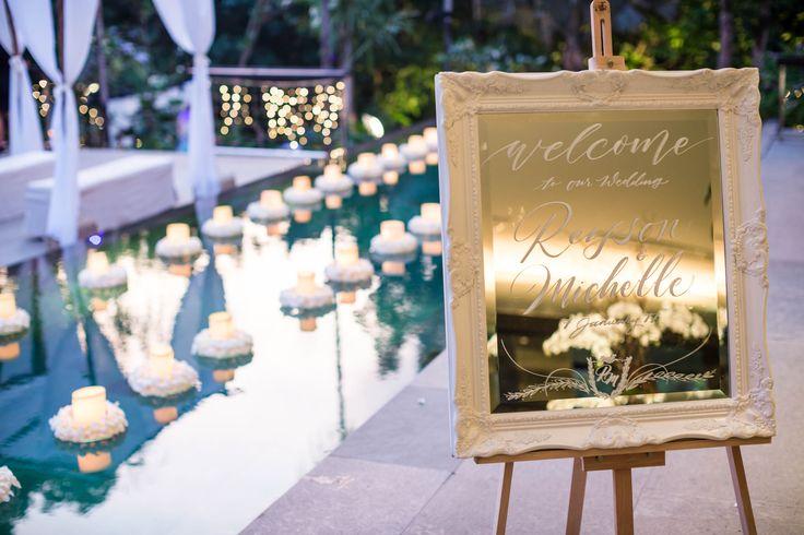 Tropical Destination Wedding Pool in Dusk