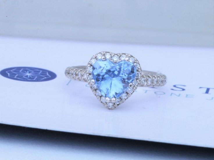 Heart Shaped Diamond Halo Blue Sapphire Engagement Ring with 1.76ct Light Blue Sapphire