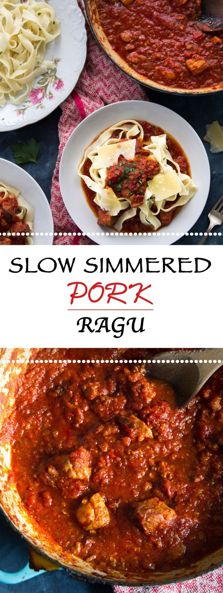 Succulent Pork Ragu made with pork belly, pork shoulder, prosciutto and Italian sausage! Slow simmered until tender in a white wine tomato sauce!