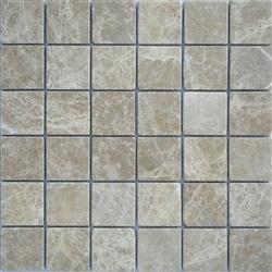 "Stone Mart USA's  2""x2"" Emperador Light Mosaic Tumbled Marble Mosaic Tile"