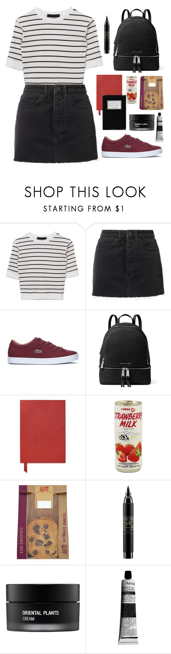 """F I R S T D A Y O F S H O O L"" by rubiasol ❤ liked on Polyvore featuring Ksubi, Lacoste, MICHAEL Michael Kors, Smythson, MAC Cosmetics, Koh Gen Do and Aesop"