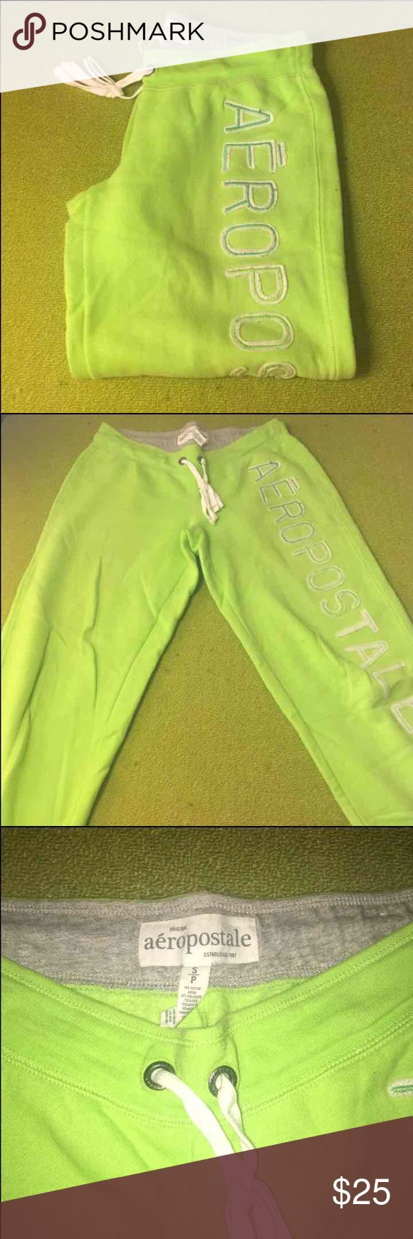 Aeropostale Lime Green Pants Hardly worn very bright line green pants, very comfty & just sitting in my closet ready for a new owner! They are a size S but are a bit larger than size it would fit more of a Medium too maybe even a large! Aeropostale Pants Track Pants & Joggers