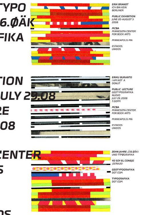 """Invitations for an exhibition celebrating ten years of Typografika in 2008. Minnesota Center for Book Arts (MCBA). Minneapolis, MN.    The collages were created from scraps I had been collecting from projects over the years.    Erik Brandt, 2008. 4"""" x 6"""""""