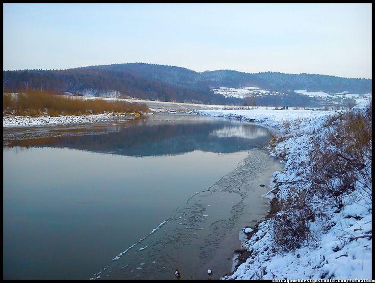 Tarnawa Dolna  - rzeka Skawa - zima #Skawa #Polska #Poland #małopolskie #powiat-suski #Beskidy #Tarnawa-Dolna #Skawce #Zembrzyce #Zarębki #zalew #zapora #Jezioro-Mucharskie #Mucharz #zapora-w-Świnnej Porębie #rzeka-Skawa