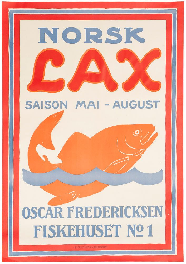 Norsk Lax (Norwegian Salmon). Vintage Fish Poster.