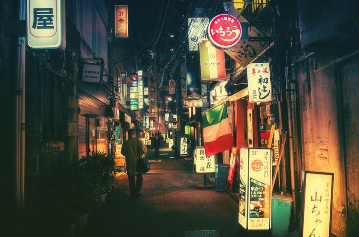 Tokyo street by night by  Masashi Wakui