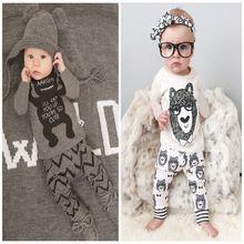 2016 nieuwe collectie jongens kleding set leuke monster t-shirt + broek pak 2 stks/set baby meisjes casual lange mouwen t-shirt pak(China (Mainland))
