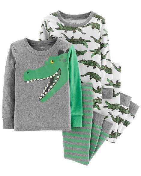 17627aaf3ea8 4-Piece Alligator Snug Fit Cotton PJs